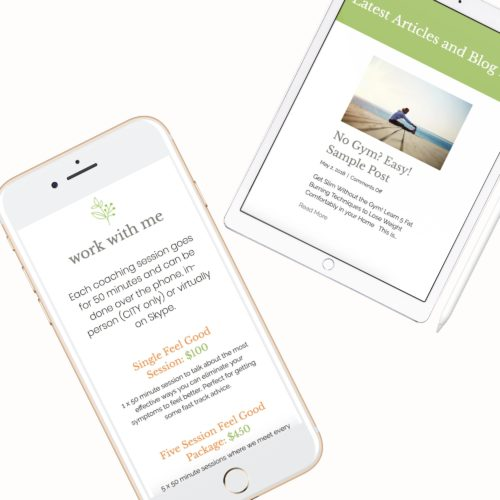 wellness website design health coach template