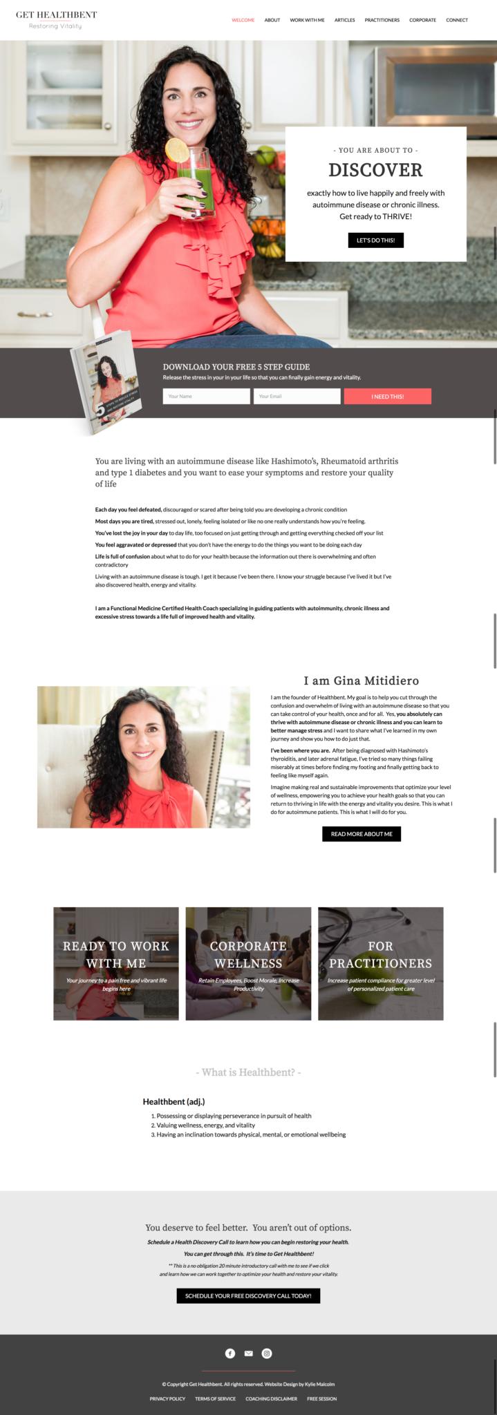 Gethealthbent full page website