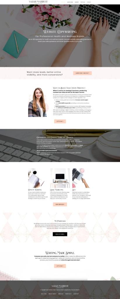 wellness copywriter website design template