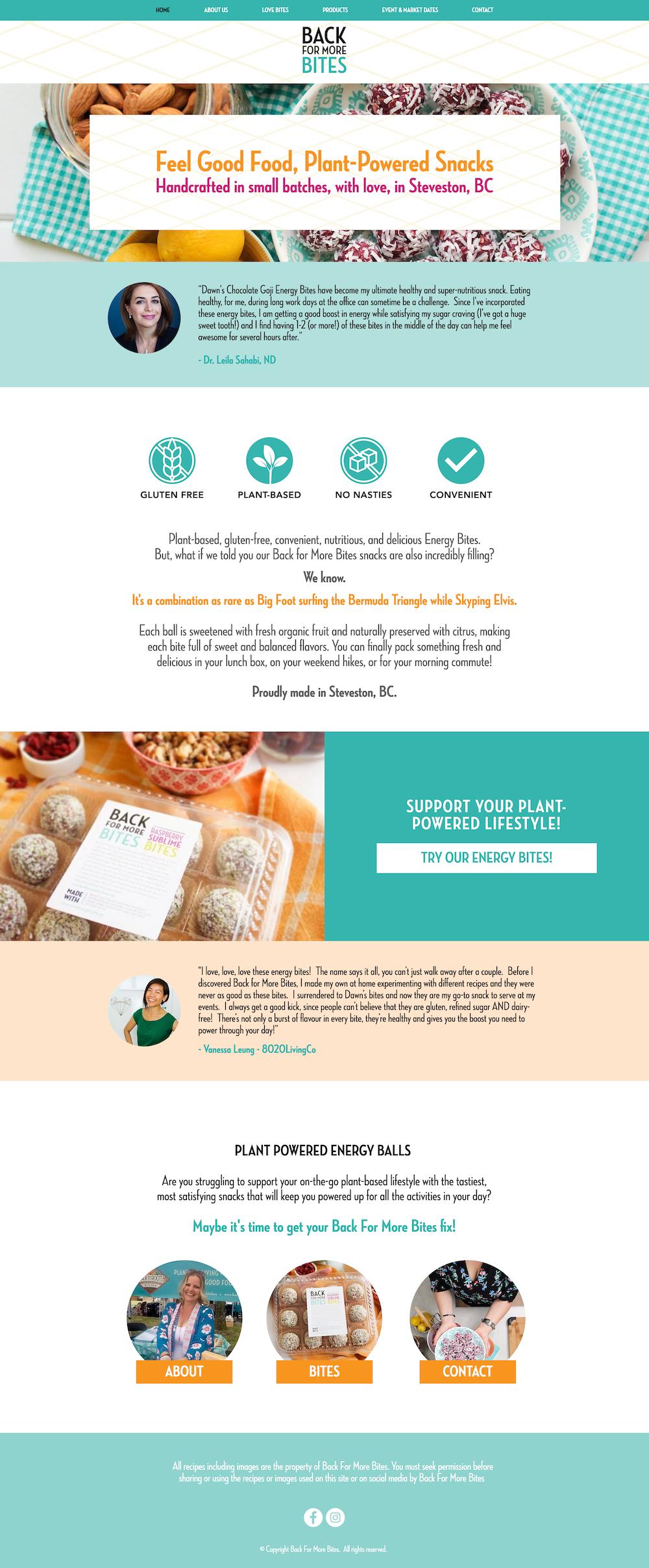 health food website design back for more