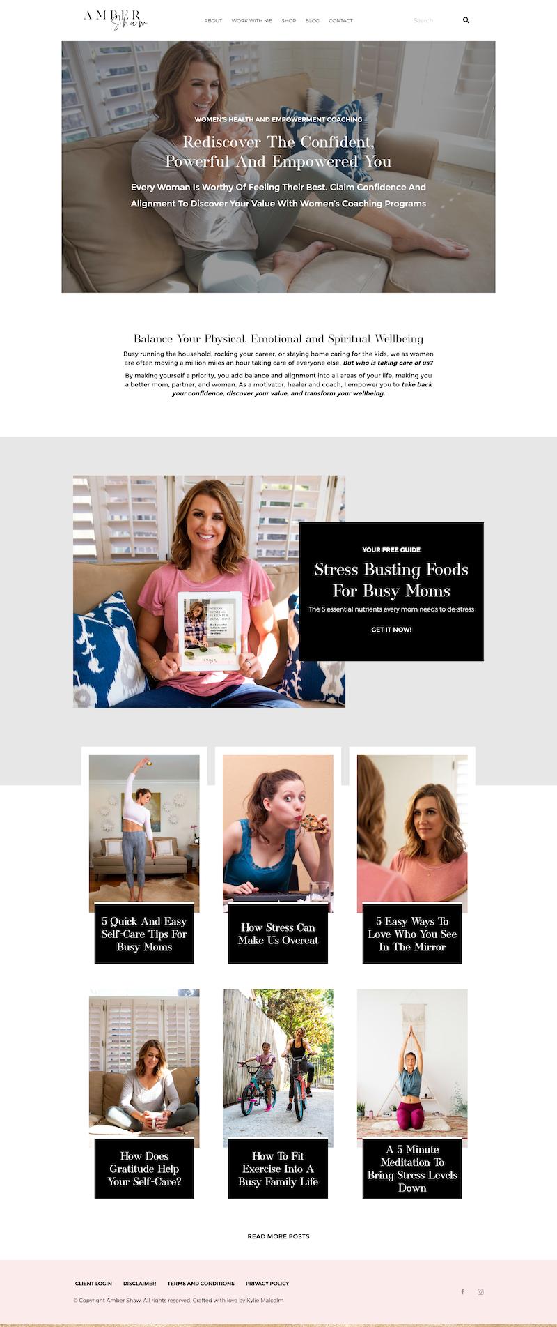 Women's Empowerment Coach Website Design Amber Shaw 1