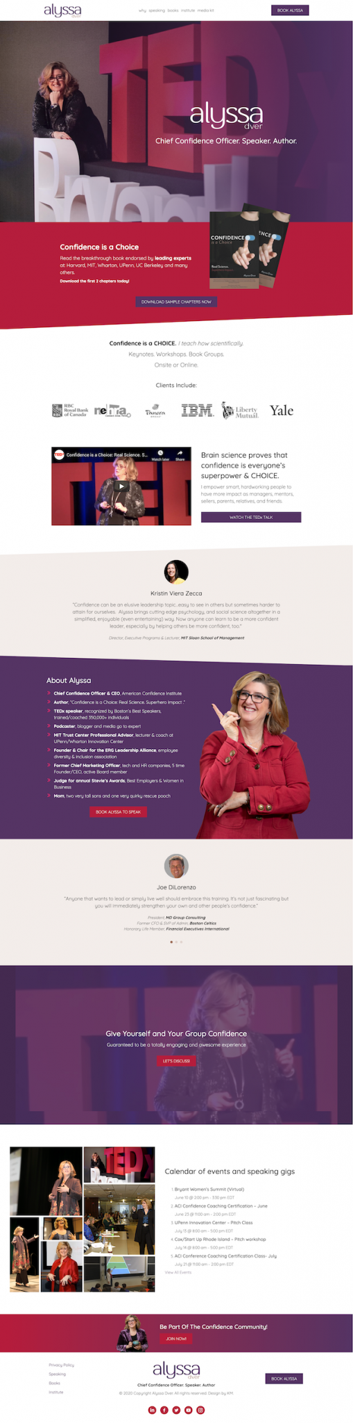 Author tedx speaker website design for Alyssa Dver