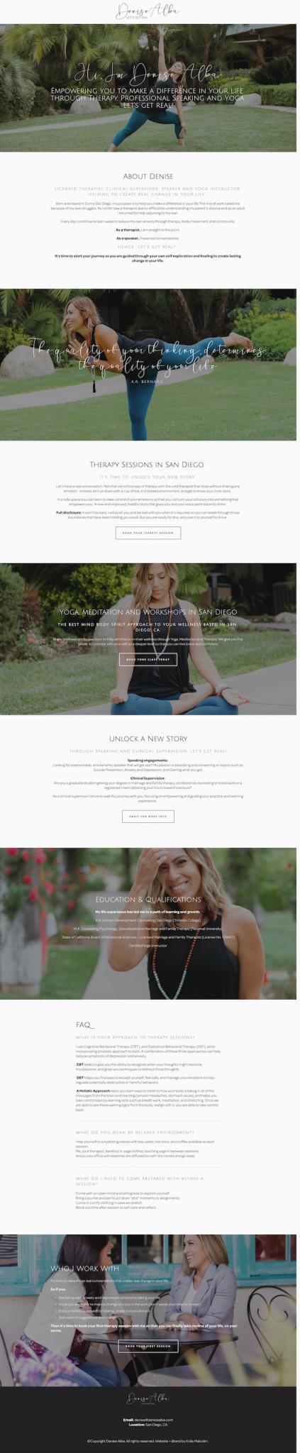 Therapist squarespace website design - DENISE ALBA