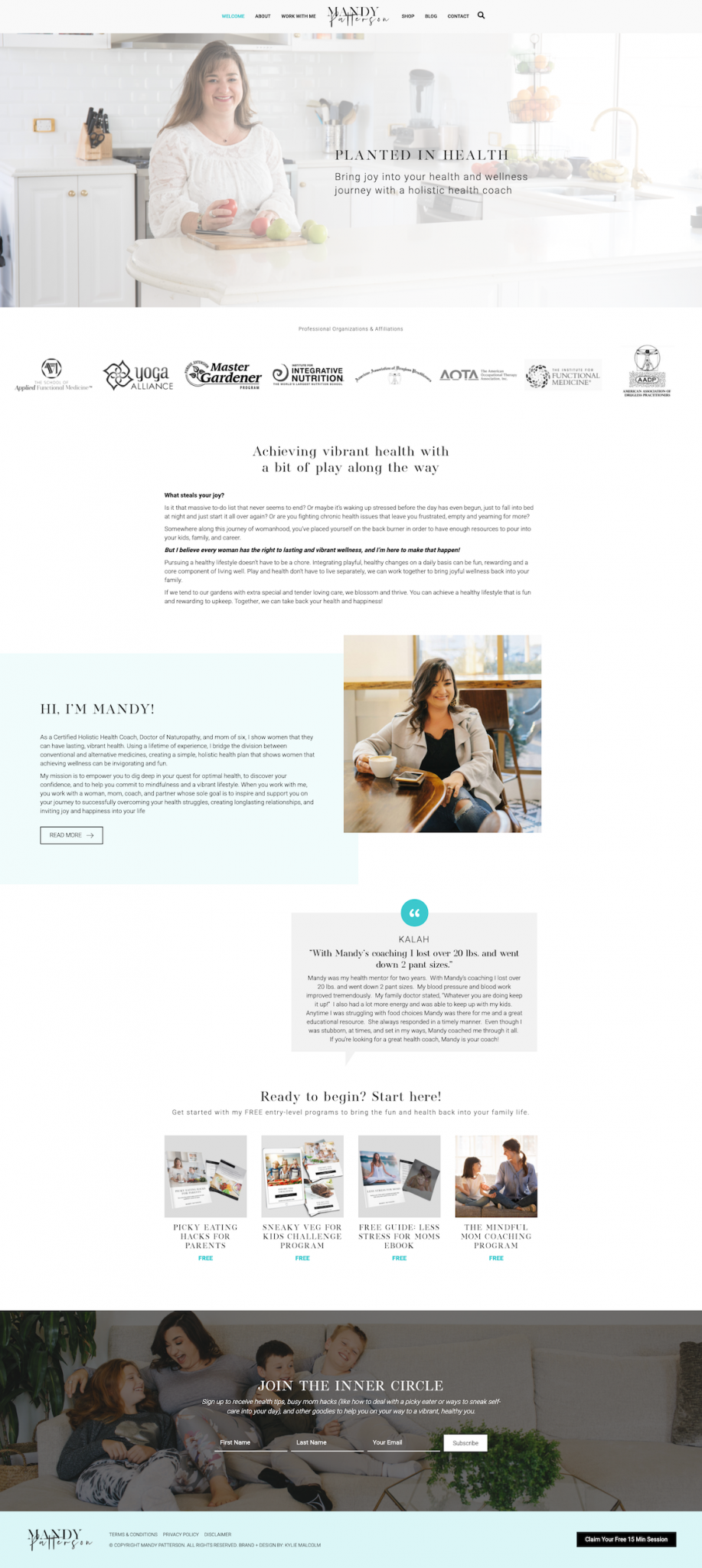 health coach naturopath website design by kylie malcolm