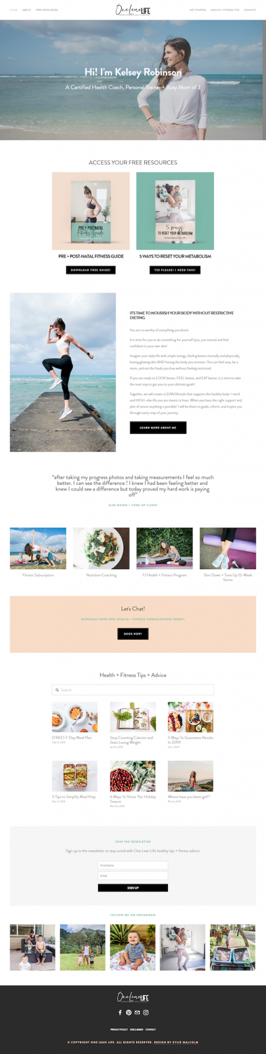 health coach squarespace website tidy up