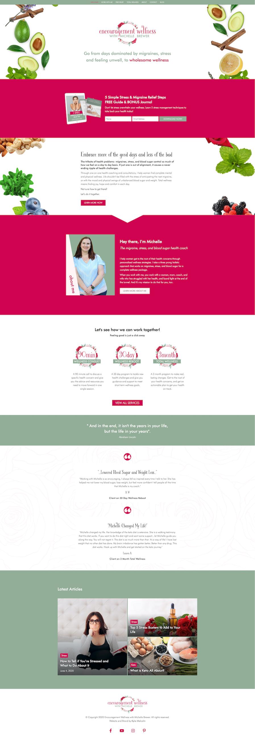 Keto health coach website design