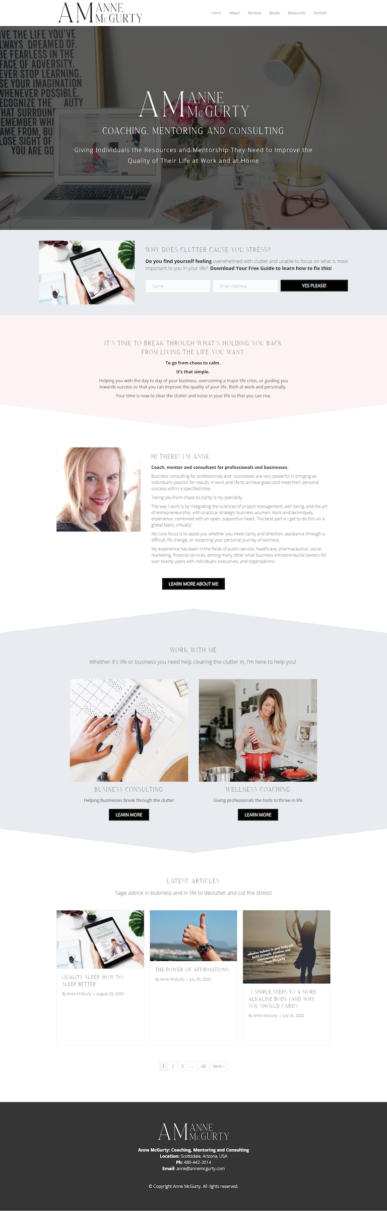 Business Coach Website Design Screen