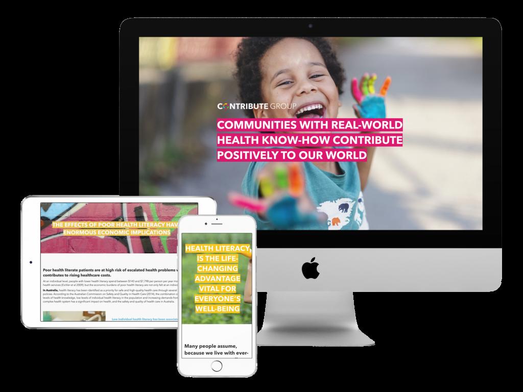 Contribute GRoup Health Platform website design mockup