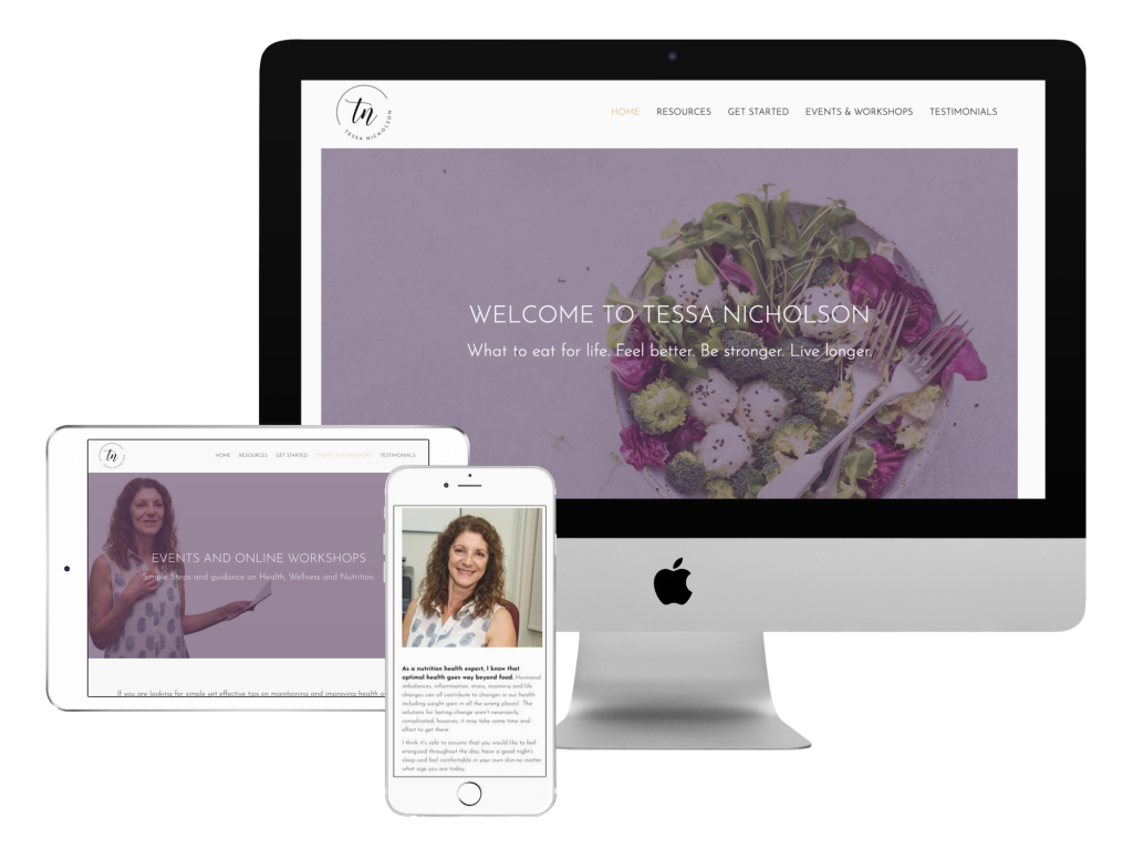 Tessa nicholson holistic nutritionist website design 3
