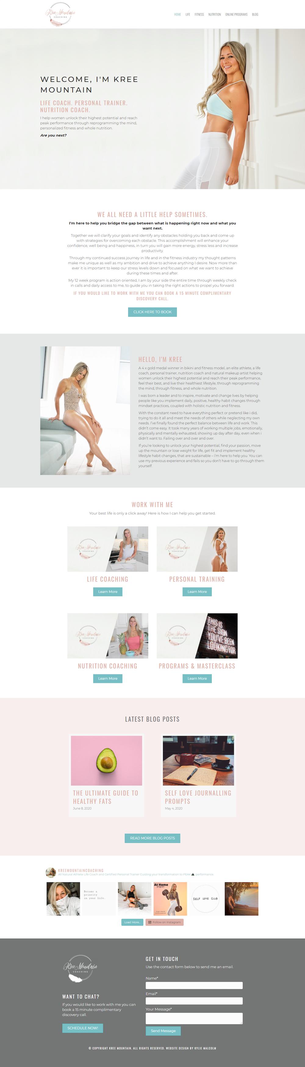 Fitness Website Design for Kree Mountain