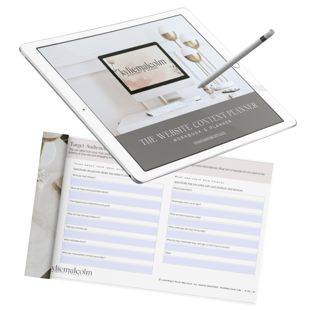Website Content Planner - kylie malcolm free offer